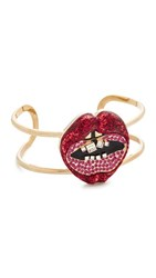 Marc Jacobs Lips In Lips Statement Cuff Bracelet Red Multi