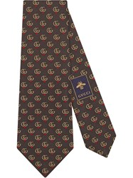 Gucci Double G Silk Tie With Hearts Brown