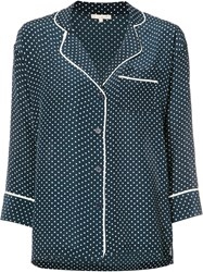 Gold Hawk Polka Dot Shirt Women Silk M Blue