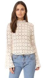 Free People Kiss And Bell Lace Top Cream