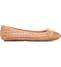 Michael Michael Kors Fulton Perforated Leather Moccasins Tan