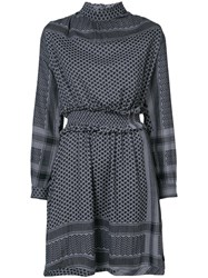 Cecilie Copenhagen Patterned High Neck Dress Cotton Xs Grey