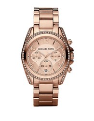 Michael Kors Ladies Crystal Accented Chronograph Watch Rose Gold