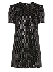 Dorothy Perkins Petite Black Velvet Shift Dress