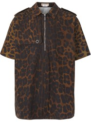 Burberry Short Sleeve Leopard Print Cotton Shirt Brown