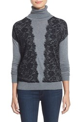 Petite Women's Halogen Detailed Turtleneck Top Heather Grey Black Colorblock