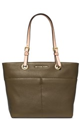 Michael Michael Kors 'Bedford' Top Zip Leather Pocket Tote Green Olive