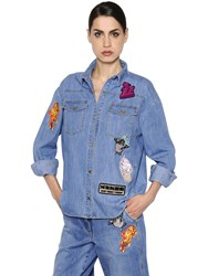 Kenzo Patches Washed Cotton Denim Shirt