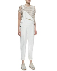 Brunello Cucinelli Pleat Front Denim Overalls Off White