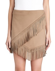1 State Faux Suede Fringe Mini Skirt Shadow Brown
