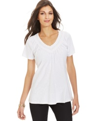 Jm Collection Crochet Neck Tee Bright White