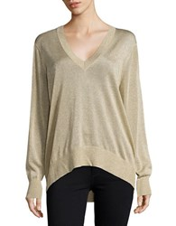 Michael Michael Kors Plus Metallic V Neck Sweater Khaki