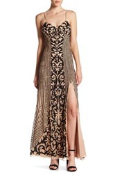 Marina Sequined Slit Gown Brown