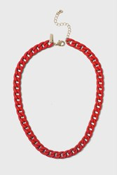 Topshop Rubber Chain Necklace Red