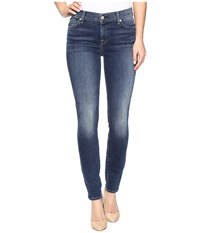 7 For All Mankind The Ankle Skinny W Navy Tonal Squiggle In High Street High Street Women's Jeans Blue