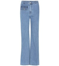 See By Chloe Flared Stretch Cotton Jeans Blue