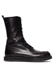 The Row Patty Lace Up Leather Combat Boots Black