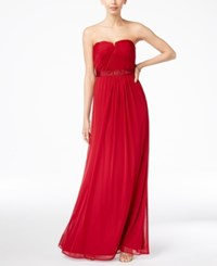 Adrianna Papell Strapless Ruched Gown Cherry