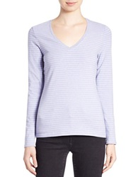 Lord And Taylor Stretch Cotton V Neck Pullover Peri Heather