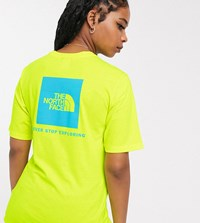 The North Face Boyfriend Red Box T Shirt In Yellow Exclusive At Asos