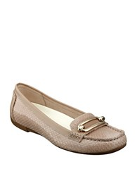 Anne Klein Noris Embossed Leather Loafers Taupe