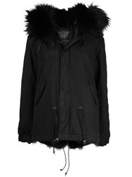 Mr And Mrs Italy Hooded Fur Trimmed Parka Black