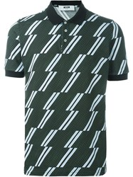 Msgm Striped Polo Shirt Green