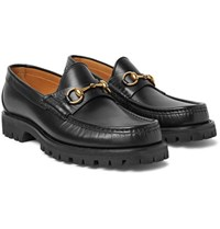 Gucci Lug Soled Horsebit Leather Loafers Black