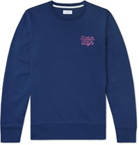 Saturdays Surf Nyc Bowery Logo Embroidered Loopback Cotton Jersey Sweatshirt Blue