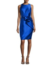 Carmen Marc Valvo Sleeveless Ruffle Trim Satin Cocktail Dress Royal