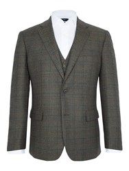 Paul Costelloe Stoney Overcheck Wool Blazer Green