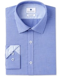 Ryan Seacrest Distinction Men's Slim Fit Stretch Non Iron Navy Diagonal Dobby Dress Shirt Created For Macy's