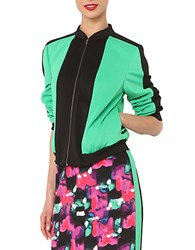 Isaac Mizrahi Color Blocked Bomber Jacket Green