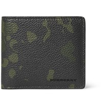Burberry Camouflage Print Full Grain Leather Billfold Wallet Army Green