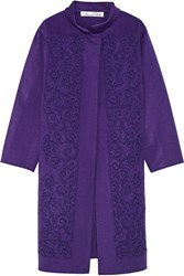 Oscar De La Renta Appliqued Wool Blend Coat Purple