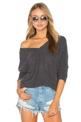 Chaser Double V Neck Top Charcoal