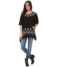 Scully Rowena Poncho Tunic Black Women's Blouse