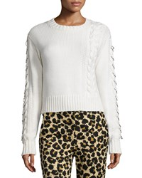 Edun Long Sleeve Cable Knit Sweater White