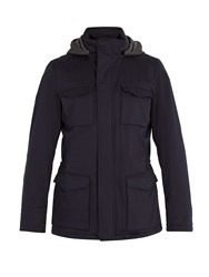 Herno Hooded Cotton Blend Jacket Navy