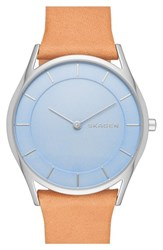Women's Skagen 'Holst' Leather Strap Watch 34Mm