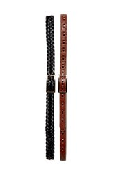 Fashion Focus Accessories Braided And Stitched Slim Belts Set Of 2 Brown