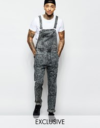 Liquor And Poker Dungarees Straight Fit Acid Wash Black Acidwashblack