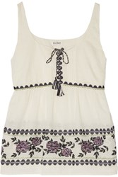 Suno Gathered Embroidered Cotton Broadcloth Top Off White