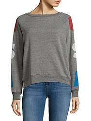 Project Social T Heathered Printed Long Sleeve Pullover Heather Grey