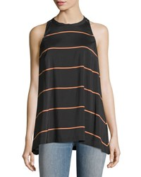 Brunello Cucinelli Striped Stretch Silk Sleeveless Top Gray Orange