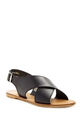 House Of Harlow Izzy Flat Leather Sandal Black