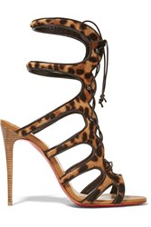 Christian Louboutin Amazoulo 100 Lace Up Leopard Print Calf Hair Sandals Leopard Print