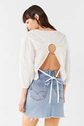 House Of Sunny Circle Tie Back Top White