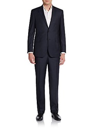 Saks Fifth Avenue Black Classic Fit Wide Stripe Suit Black Navy