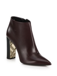 Burberry Bamburgh Leather Point Toe Booties Black Dark Brown